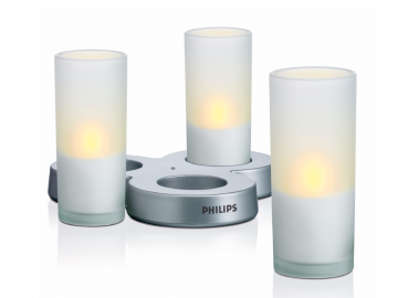 IMAGEO LED Candle - LED Kerzen 3er-Set mit Akku-Ladestation