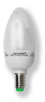 MEGAMAN MM11802i - Ultra Compact Candle, 220-240V, 7W, E14, clear smooth