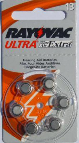 1 x 6 RAYOVAC 13AE Hörgerätebatterien ORANGE, EXTRA ADVANCED